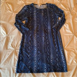 Michael Kors Blue snakeskin print ITY dress sz.M